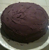Photo of the last gluten-filled cake I made. Not my best effort!