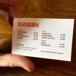 The 'menu' at Bunsen.