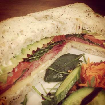 The AMAZING avocado, bacon, cheese and salad sandwich. Personal favourite.