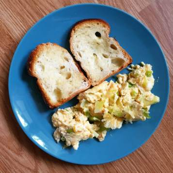 Sunday brunch using Romeo's onion bread.