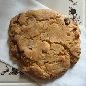 Awesome and huge chocolate chip cookie.