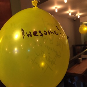 On one visit they had balloons that you could write on. This was my contribution.